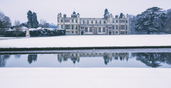 Audley End House in the snow